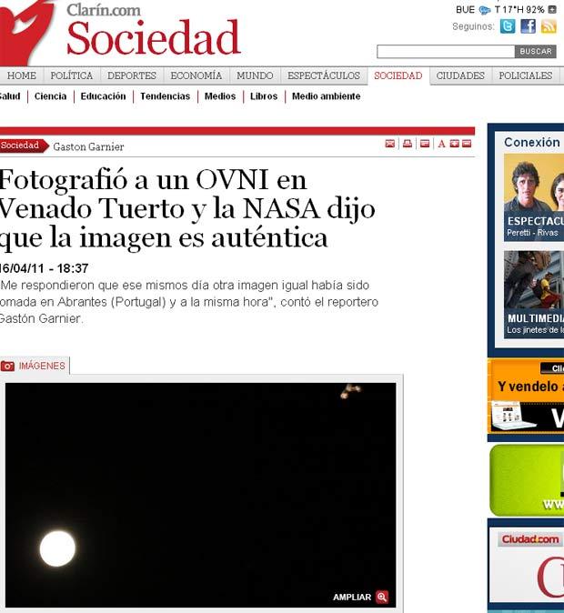 Atestado de autenticidade: o G1 brasileiro reproduziu a página do Clarín sobre a história da suposta foto (Click para ampliar)