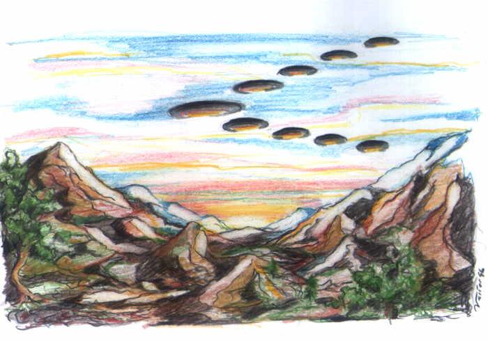 Representação artística do fenômeno observado pelo aviador Kenneth Arnold quando sobrevoava o Monte Rainier (Ilustração de Valter Dionísio Alves) (Click para ampliar)
