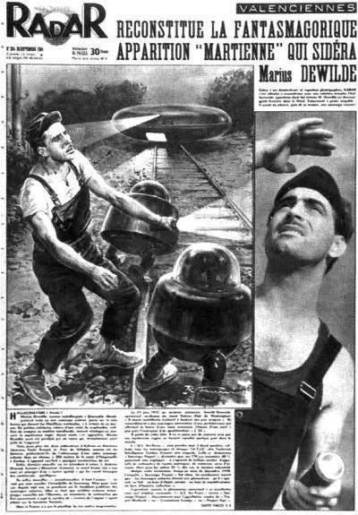 """Jornal da época, ilustrado a """"fantasmagórica aparição de marcianos para Dewilde"""". (Click para ampliar)"""