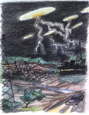 Vários relatos de avistamentos de UFOs sobre centrais elétricas levaram pesquisadores a relacionar a pane ao fenômeno (Click para ampliar)