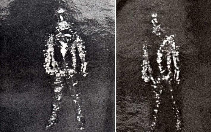 Duas das quatro fotos do alienígena (ou homem) de metal de Falkville