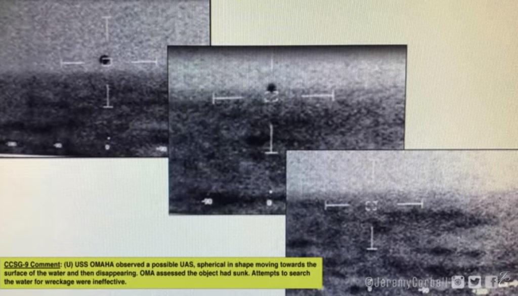 Outra imagem obtida por Jeremy Corbell dos documentos que vazaram da Força Tarefa UAP retrata uma suposta esfera que entra na agua (Foto: Youtube/Reprodução_Canal Jeremy Corbell)